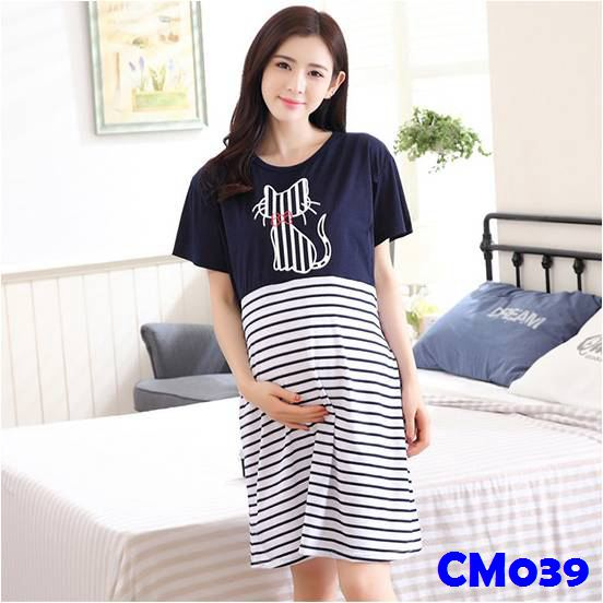 (CM039) Maternity Dress - Cat -Blue
