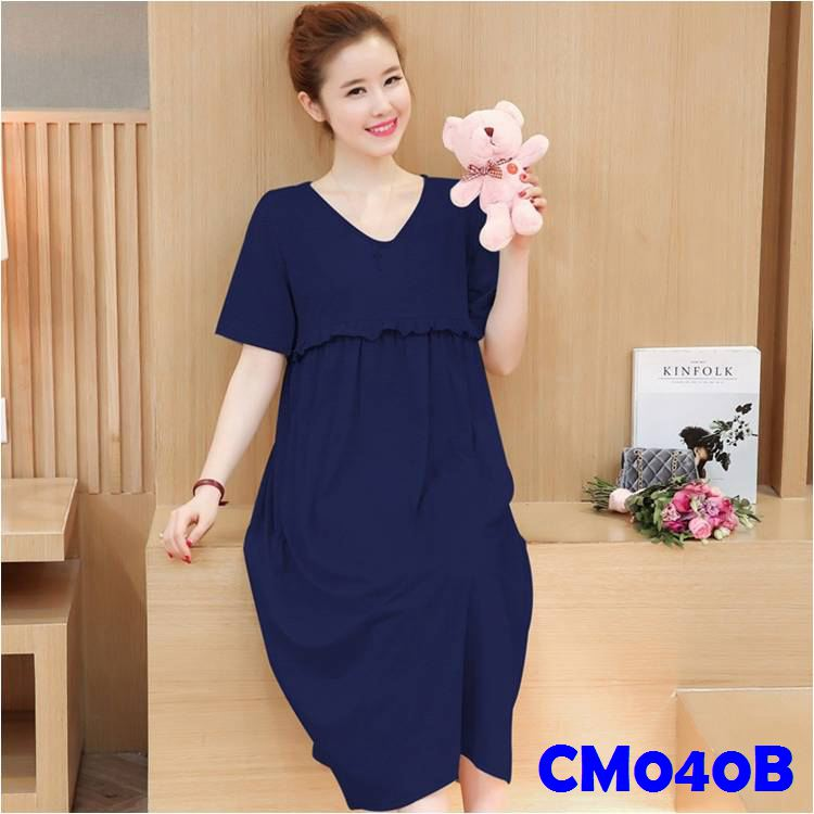 (CM040B) Maternity Dress - Blue