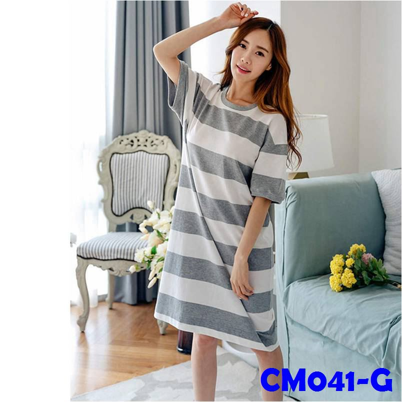 (CM041G) Maternity Dress - Grey Stripe