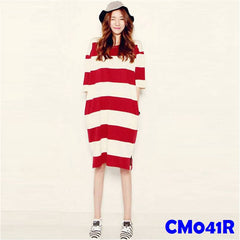 (CM041R) Maternity Dress - Red Stripe