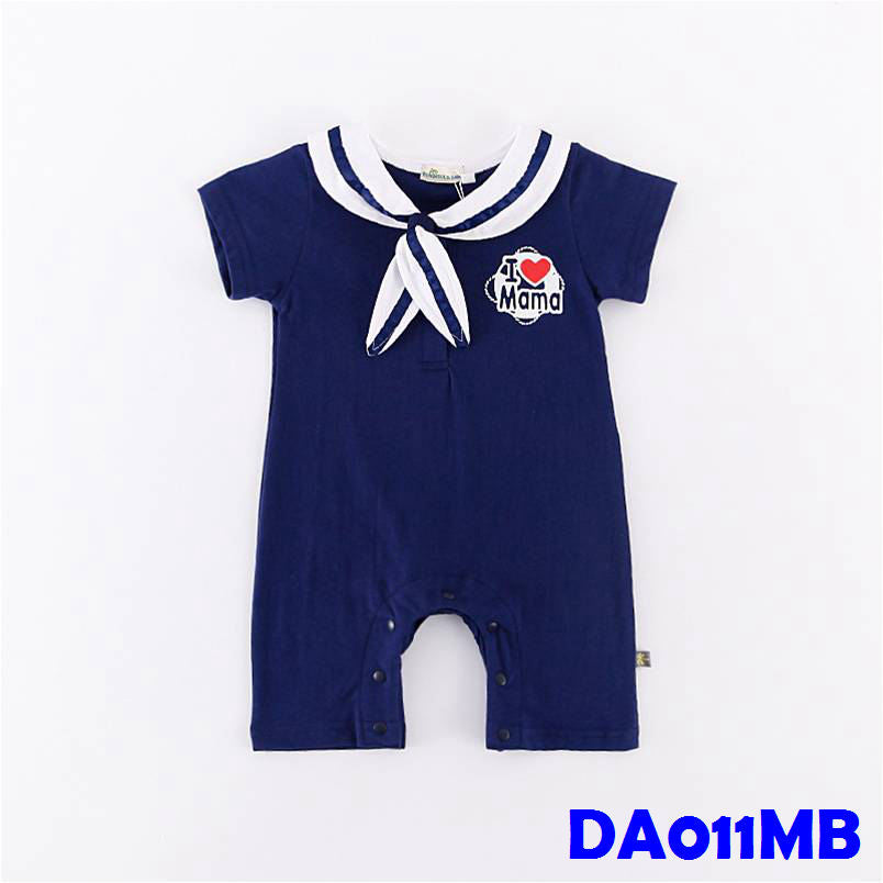 (DA011MB) Sailor Baby Romper - I Love Mama Blue