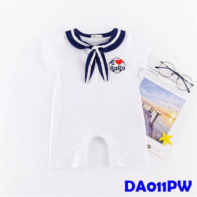 (DA011PW) Sailor Baby Romper - I Love Papa White
