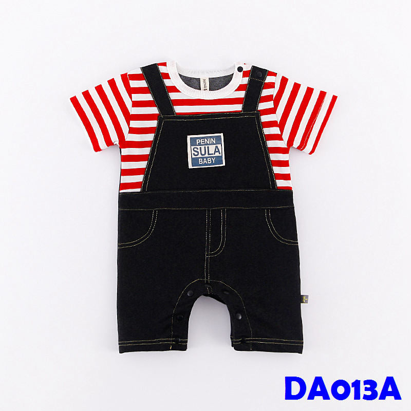 (DA013A) Baby Boy Romper - Stripes Red