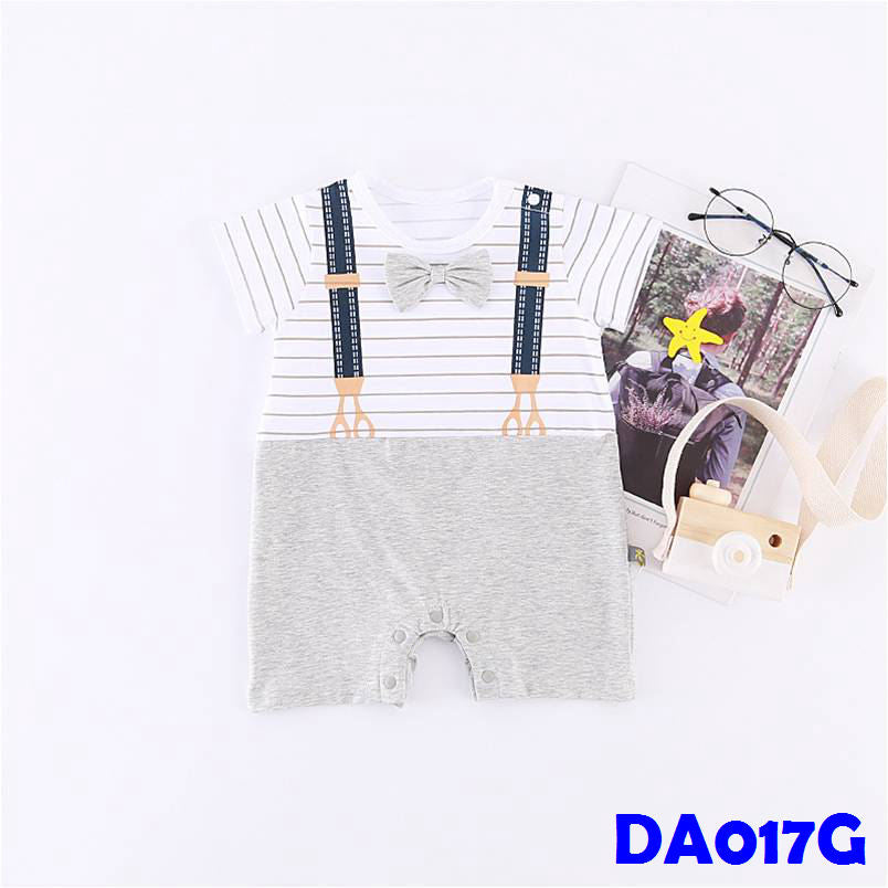 (DA017G) Baby Boy Romper with Bowtie - Grey