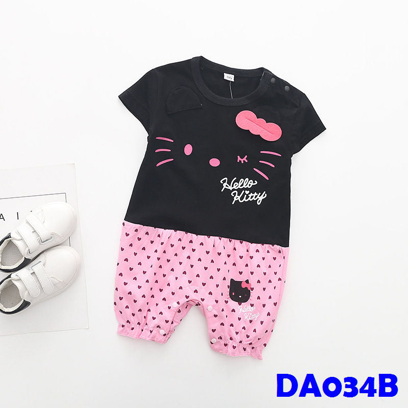 (DA034B) Romper - Hello Kitty Black