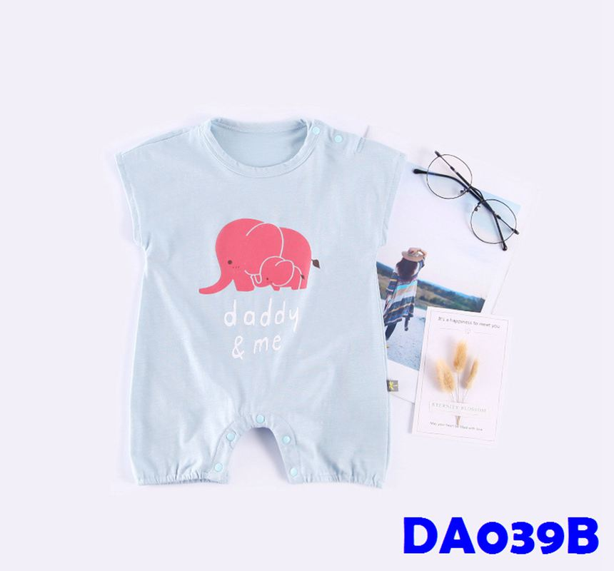 (DA039B) Baby rompers - Elephants (Blue)