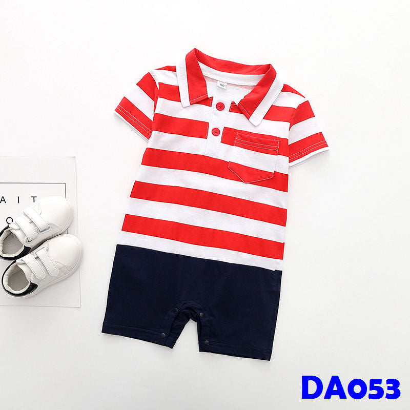 (DA053) Baby Rompers - Red Stripes
