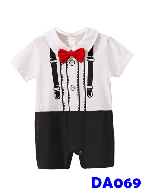 (DA069) Boy Rompers - Red Bowtie