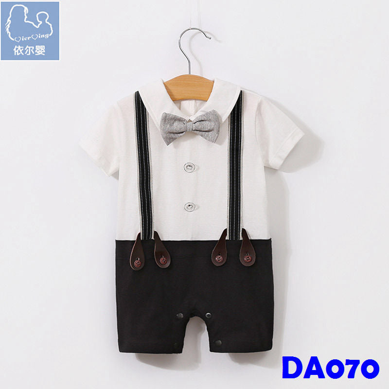 (DA070) Boy Rompers - Grey Bowtie