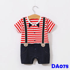 (DA078) Boy Rompers - Red Stripes