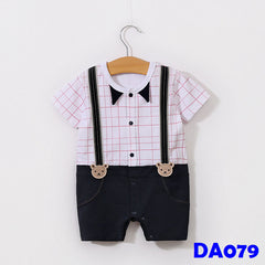 (DA079) Boy Rompers - Boxes Pink