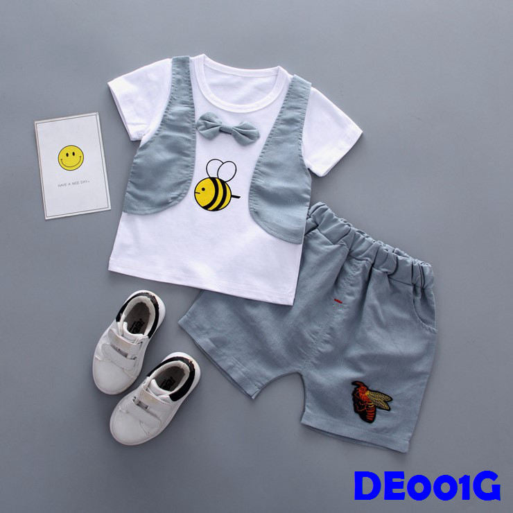 (DE001G) Boy Set - Bee (Grey)