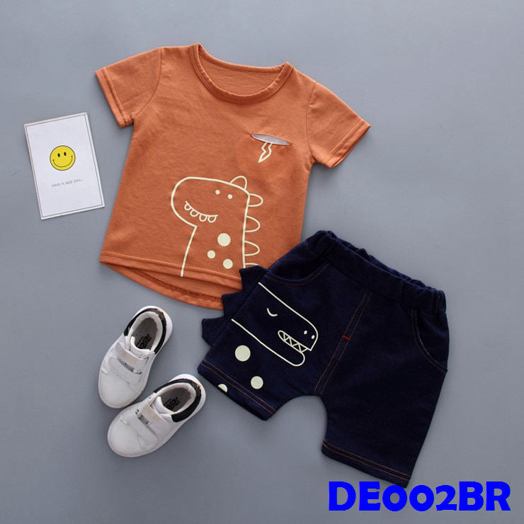 (DE002Q) Boy Set - Dinasour (Orange)