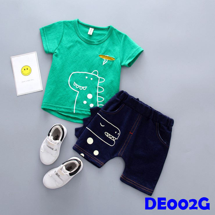 (DE002G) Boy Set - Dinasour (Green)
