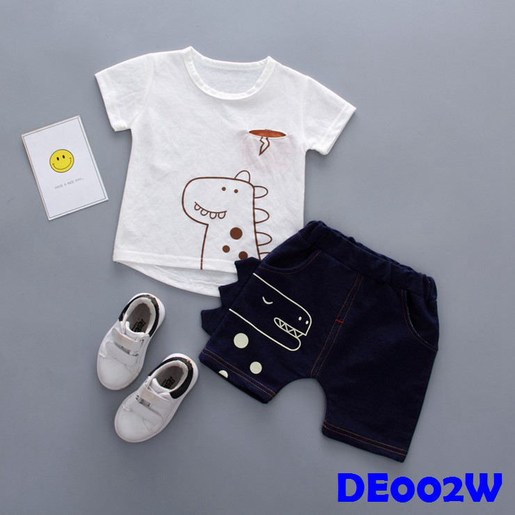 (DE002W) Boy Set - Dinasour (White)