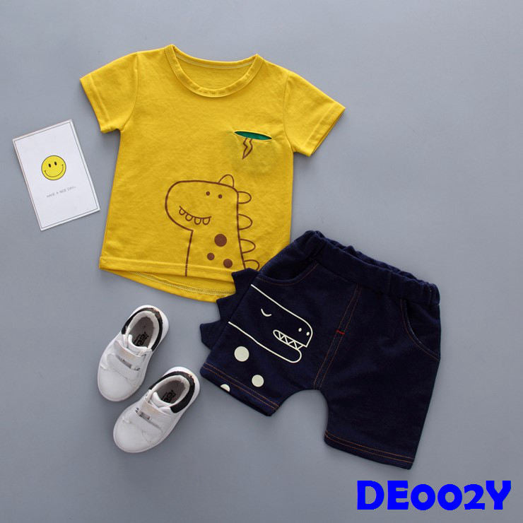 (DE002Y) Boy Set - Dinasour (Yellow)