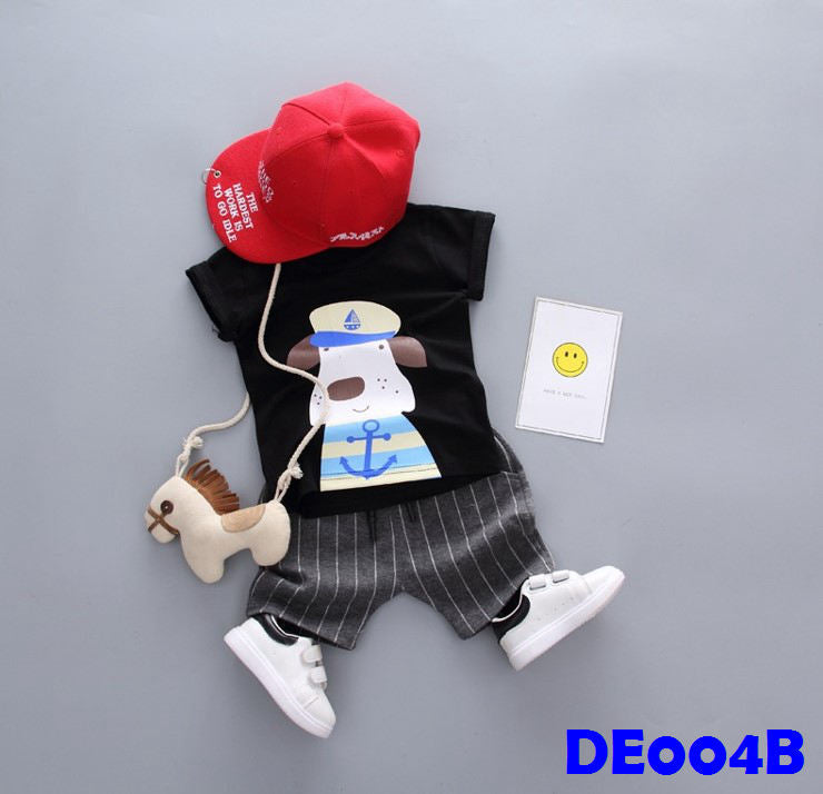 (DE004B) Boy Set - Dog (Black)
