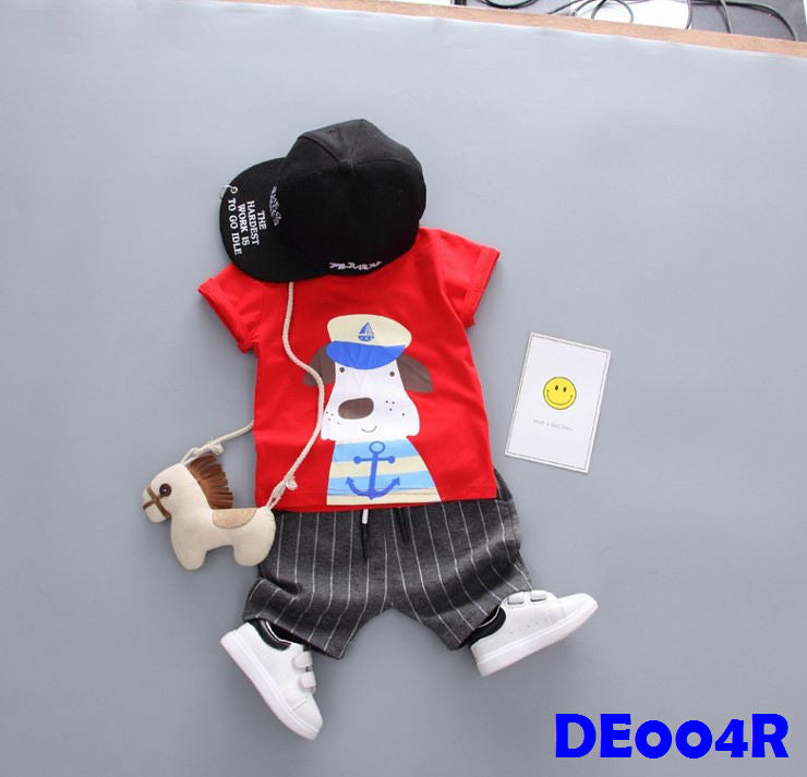 (DE004R) Boy Set - Dog (Red)