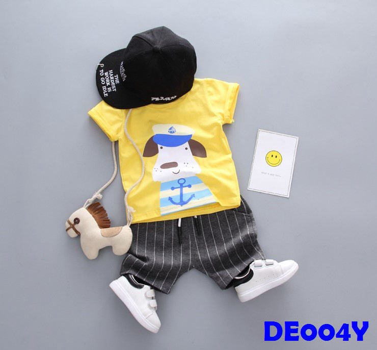 (DE004Y) Boy Set - Dog (Yellow)
