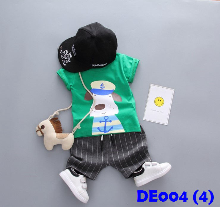 (DE004G) Boy Set - Dog (Green)
