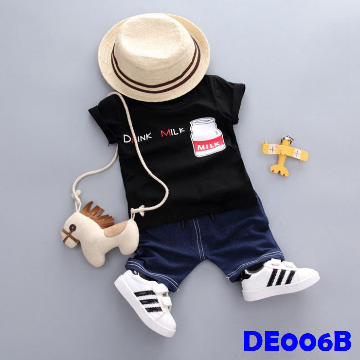 (DE006B) Boy Set - Milk (Black)