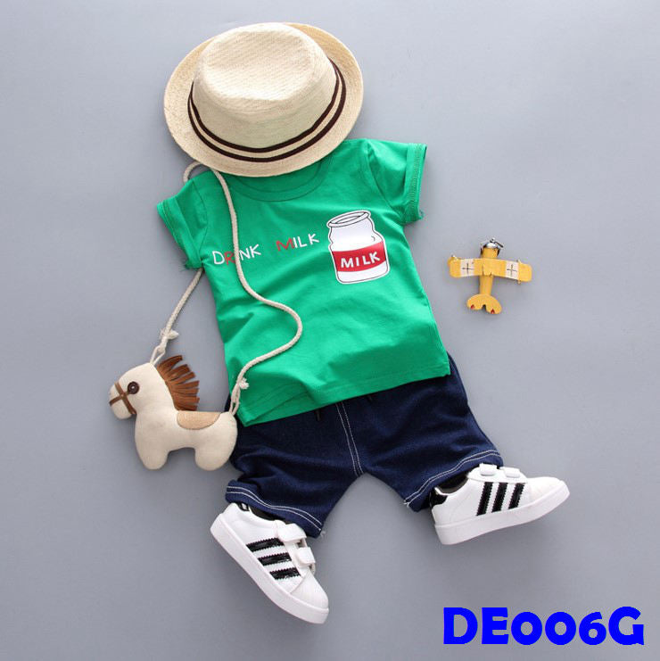 (DE006G) Boy Set - Milk (Green)