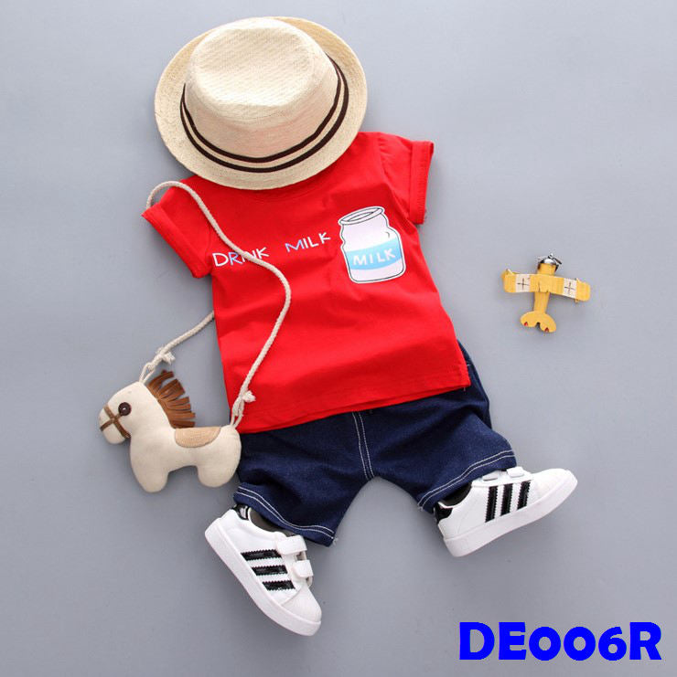 (DE006R) Boy Set - Milk (Red)