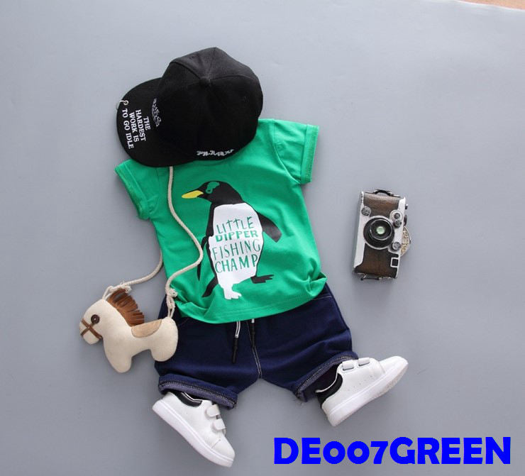 (DE007G) Boy Set - Penguin(Green)