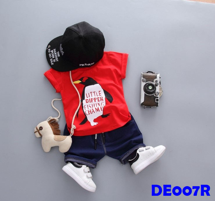 (DE007R) Boy Set - Penguin (Red)
