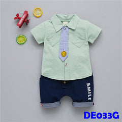 (DE033G) Boy set - Smiley (Green)