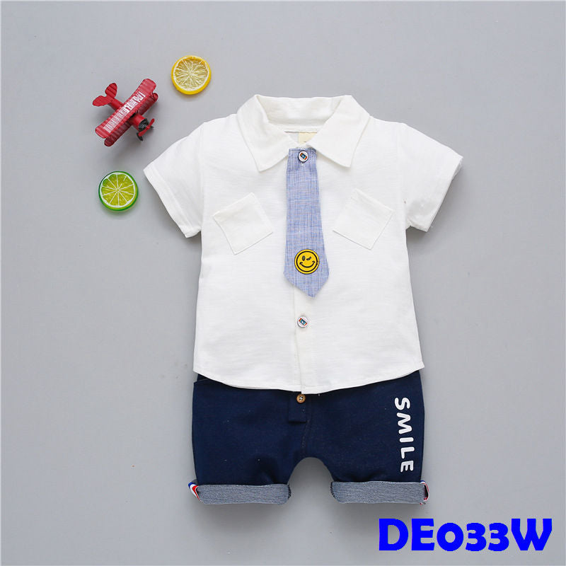 (DE033W) Boy set - Smiley (White)