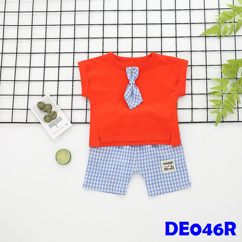 (DE046R) Boy set - Tie - Red