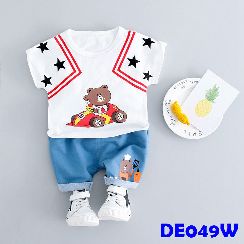 (DE049W) Boy set - Racing Boy - White