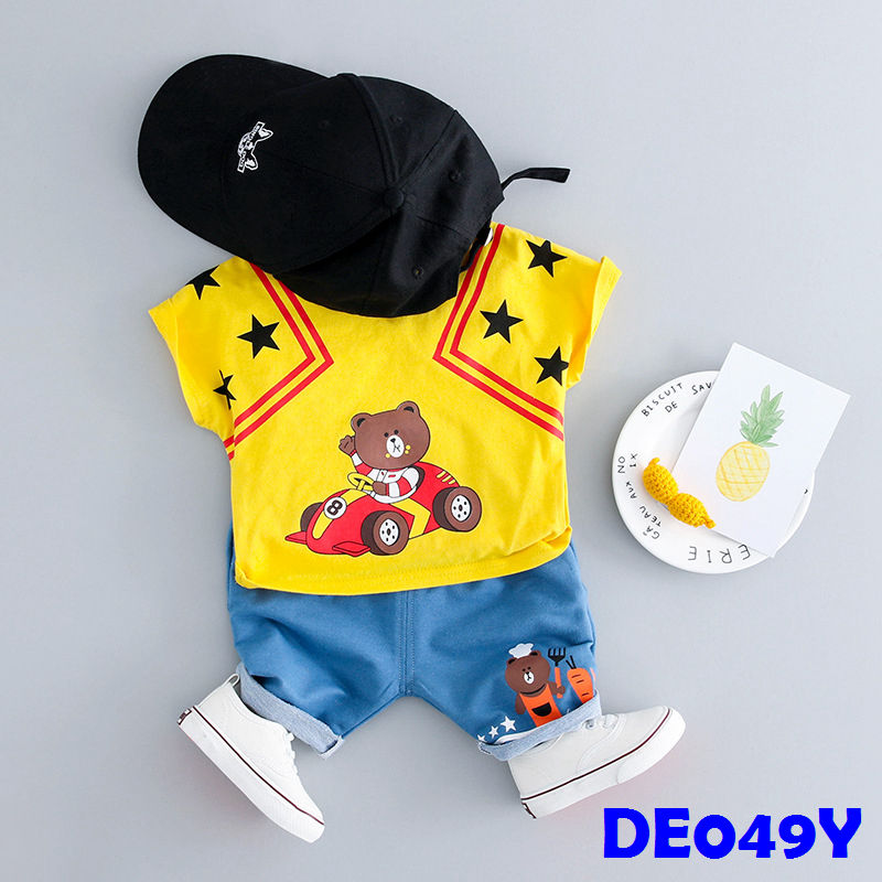 (DE049Y) Boy set - Racing Boy - Yellow