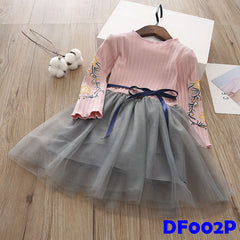(DF002P) Long Sleeve and Tutu Dress (Pink)