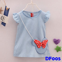 (DF005) Girl Dress - Minnie Blue
