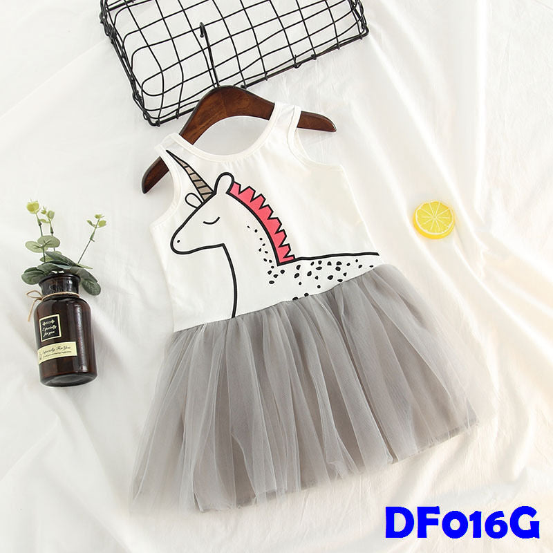 (DF016G) Tutu Dress - Unicorn Grey
