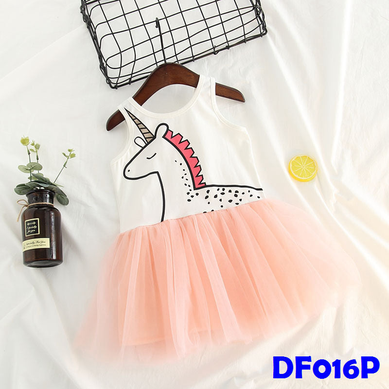(DF016P) Tutu Dress - Unicorn Pink