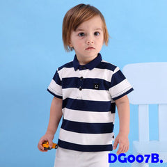(DG007B) Polo Shirt - Stripes Dark Blue