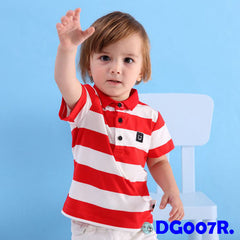 (DG007R) Polo Shirt - Stripes Red