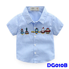(DG010B) Boy Shirt - Rockets (Blue)