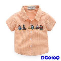 (DG010Q) Boy Shirt - Rockets (Orange)