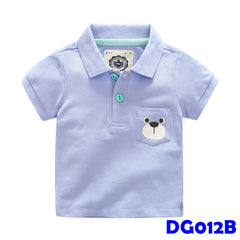 (DG012B) Boy Polo - Bear Blue