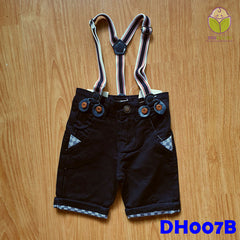 (DH007B) Kid Pants with Suspender - Black