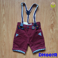 (DH007R) Kid Pants with Suspender - Red