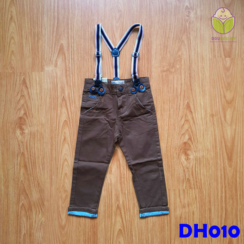 (DH010) Kid Long Pants with Suspender - Dark Brown