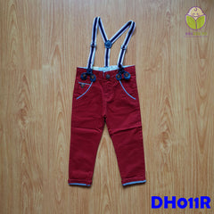 (DH011R) Kid Long Pants with Suspender - Red