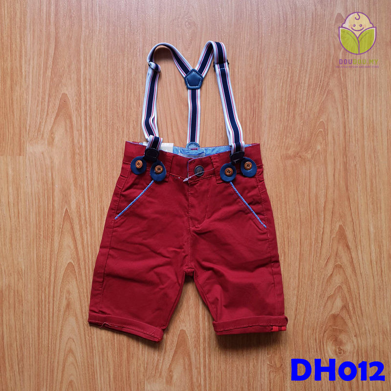 (DH012) Kid Pants with Suspenders - Red