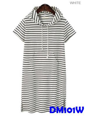 (DM101W) Maternity Dress - Hooded Stripe - White