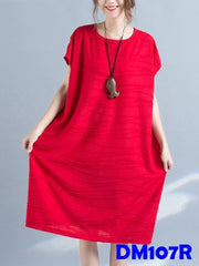 (DM107R) Maternity Dress - Mid-length - Red
